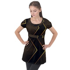 Black Arrow Gold Line Hexagon Mesh Pattern Puff Sleeve Tunic Top