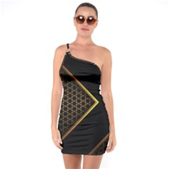 Black Arrow Gold Line Hexagon Mesh Pattern One Soulder Bodycon Dress by Vaneshart