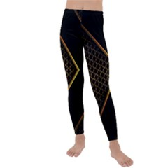 Black Arrow Gold Line Hexagon Mesh Pattern Kids  Lightweight Velour Leggings