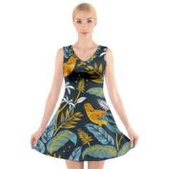Birds Nature Design V Neck Sleeveless Dress