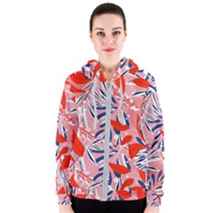 Tropical Seamless Pattern With Colorful Leaves Plants Women s Zipper Hoodie