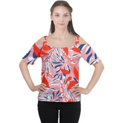 Tropical Seamless Pattern With Colorful Leaves Plants Cutout Shoulder Tee