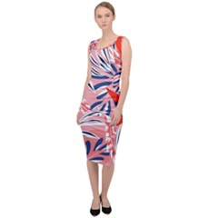 Tropical Seamless Pattern With Colorful Leaves Plants Sleeveless Pencil Dress