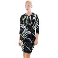 Trending Abstract Seamless Pattern With Colorful Tropical Leaves Plants Black Background Quarter Sleeve Hood Bodycon Dress