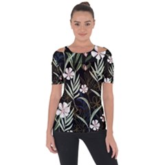 Trending Abstract Seamless Pattern With Colorful Tropical Leaves Plants Black Background Shoulder Cut Out Short Sleeve Top by Vaneshart