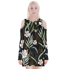 Trending Abstract Seamless Pattern With Colorful Tropical Leaves Plants Black Background Velvet Long Sleeve Shoulder Cutout Dress