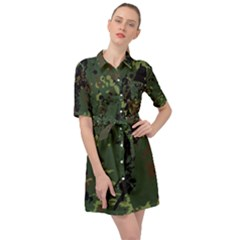 Military Background Grunge Style Belted Shirt Dress