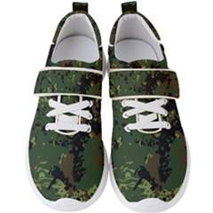 Military Background Grunge Style Men s Velcro Strap Shoes