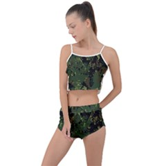 Military Background Grunge Style Summer Cropped Co Ord Set