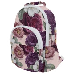 Romantic Floral Background Rounded Multi Pocket Backpack