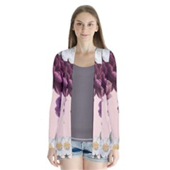 Romantic Floral Background Drape Collar Cardigan