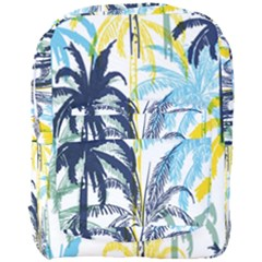 Colorful Summer Palm Trees White Forest Background Full Print Backpack by Vaneshart
