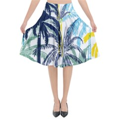 Colorful Summer Palm Trees White Forest Background Flared Midi Skirt