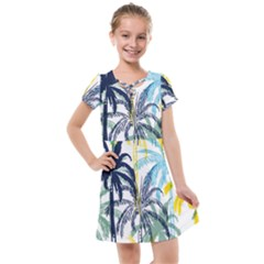 Colorful Summer Palm Trees White Forest Background Kids  Cross Web Dress