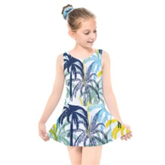 Colorful Summer Palm Trees White Forest Background Kids  Skater Dress Swimsuit