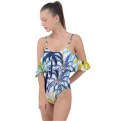 Colorful Summer Palm Trees White Forest Background Drape Piece Swimsuit