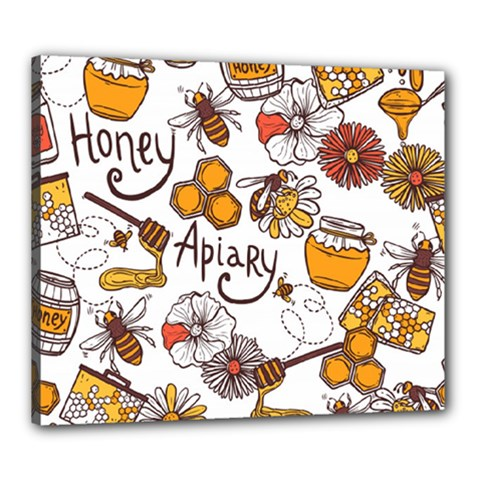 Honey Seamless Pattern Canvas 24  X 20  (stretched)