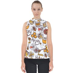 Honey Seamless Pattern Mock Neck Shell Top