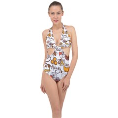 Honey Seamless Pattern Halter Front Plunge Swimsuit