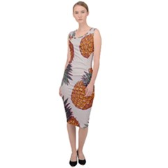 Seamless Pattern With Vector Illustrations Pineapples Sleeveless Pencil Dress