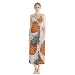 Seamless Pattern With Vector Illustrations Pineapples Button Up Chiffon Maxi Dress