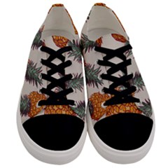 Seamless Pattern With Vector Illustrations Pineapples Men s Low Top Canvas Sneakers