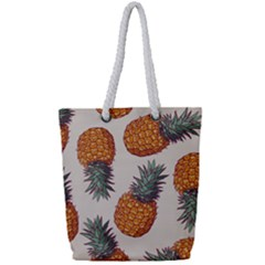 Seamless Pattern With Vector Illustrations Pineapples Full Print Rope Handle Tote (small)