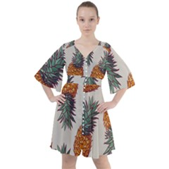 Seamless Pattern With Vector Illustrations Pineapples Boho Button Up Dress