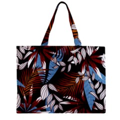 Trending Abstract Seamless Pattern With Colorful Tropical Leaves Plants Black Zipper Mini Tote Bag