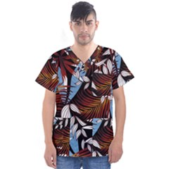 Trending Abstract Seamless Pattern With Colorful Tropical Leaves Plants Black Men s V Neck Scrub Top