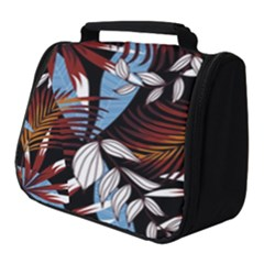 Trending Abstract Seamless Pattern With Colorful Tropical Leaves Plants Black Full Print Travel Pouch (small)