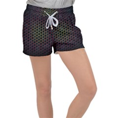 Dark Hexagon With Light Fire Background Women s Velour Lounge Shorts