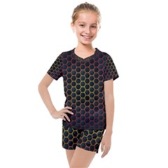 Dark Hexagon With Light Fire Background Kids  Mesh Tee And Shorts Set