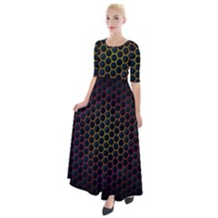 Dark Hexagon With Light Fire Background Half Sleeves Maxi Dress
