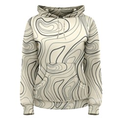 Topographic Lines Background Salmon Colour Shades Women s Pullover Hoodie