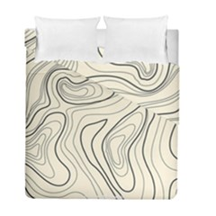 Topographic Lines Background Salmon Colour Shades Duvet Cover Double Side (full/ Double Size)