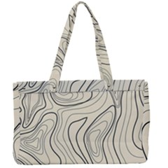 Topographic Lines Background Salmon Colour Shades Canvas Work Bag