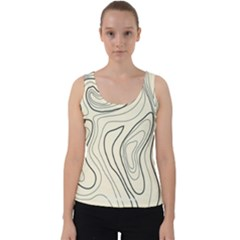 Topographic Lines Background Salmon Colour Shades Velvet Tank Top