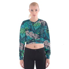 Seamless Abstract Pattern With Tropical Plants Cropped Sweatshirt