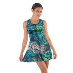 Seamless Abstract Pattern With Tropical Plants Cotton Racerback Dress