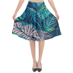 Seamless Abstract Pattern With Tropical Plants Flared Midi Skirt