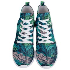 Seamless Abstract Pattern With Tropical Plants Men s Lightweight High Top Sneakers