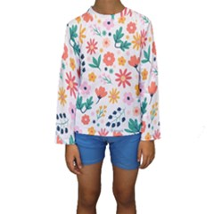 Flat Colorful Flowers Leaves Background Kids  Long Sleeve Swimwear by Vaneshart