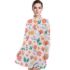 Flat Colorful Flowers Leaves Background Long Sleeve Chiffon Shirt Dress