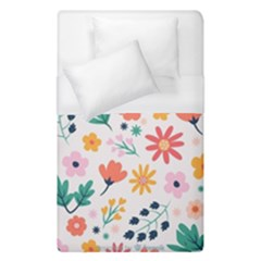Flat Colorful Flowers Leaves Background Duvet Cover (single Size)