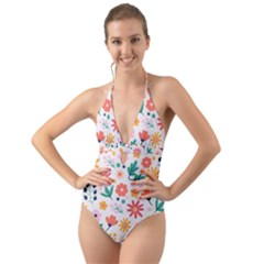 Flat Colorful Flowers Leaves Background Halter Cut-out One Piece Swimsuit