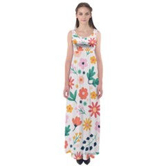 Flat Colorful Flowers Leaves Background Empire Waist Maxi Dress