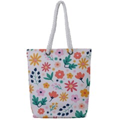 Flat Colorful Flowers Leaves Background Full Print Rope Handle Tote (small)