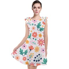 Flat Colorful Flowers Leaves Background Tie Up Tunic Dress