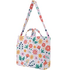 Flat Colorful Flowers Leaves Background Square Shoulder Tote Bag